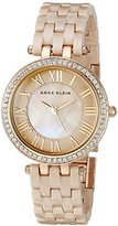 Anne Klein Women's AK/2200TNGB Swarovski Crystal Accented Tan Ceramic Bracelet Watch