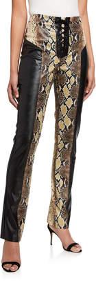 I.AM.GIA Penelope Snake-Print Panel Faux-Leather Lace Up Pants