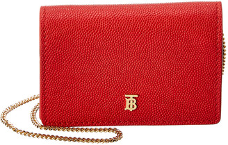 Burberry Jessie Grainy Leather Card Case On Chain
