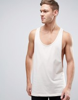 Asos Tank With Extreme Dropped Armhole And Racer Back In Off White