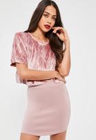 Missguided Petite Exclusive Mauve Scuba Curve Hem Skirt