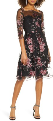 Chi Chi London Adalee Embroidered Floral Fit & Flare Cocktail Dress