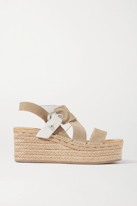 Rag & Bone August Suede And Leather Espadrille Platform Sandals - Taupe