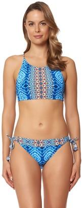 Bleu Rod Beattie Bleu | Rod Beattie Women's Mykonos Multi Print High Neck Lace Tie Back Bikini Top
