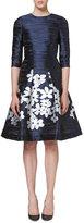 Carolina Herrera Floral-Skirt 3/4-Sleeve Cocktail Dress, Ink Blue