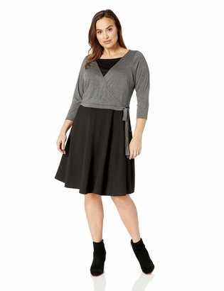 City Chic Women's Apparel Women's Plus Size Contrast Sleeved FIT and Flare Dress