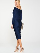 AX Paris Boat Neck Dress With Ruched Detail - Navy