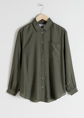 And other stories Oversized Silk Blend Button Up Shirt