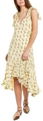 Nicole Miller Ruffled High-Low Silk-Blend Midi Dress