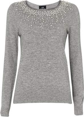 Wallis Grey Embellished Pearl Neck Jumper