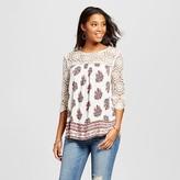 Xhilaration Women's Crochet Yoke Woven Top Juniors')