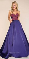 Mac Duggal Strapless Multi Color Beaded Ball Gown
