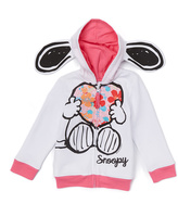 Freeze White Snoopy Ear-Attached Fleece Hoodie - Toddler