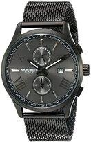 Akribos XXIV Men's Swiss Quartz Multi-function Black Sunray Dial Mesh Stainless Steel Bracelet Watch AK905BK