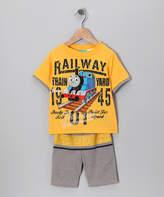 Children's Apparel Network Thomas & Friends Engine Yellow 'Railway' Tee & Shorts - Infant