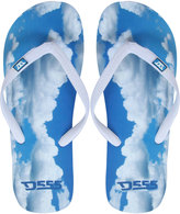 Yours Clothing D555 Blue Cloud Print Flip Flops