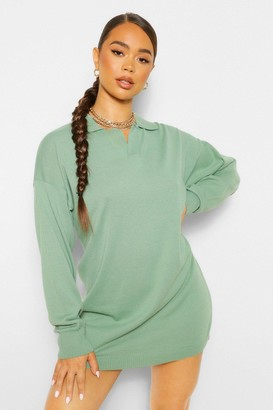 boohoo Plain Knitted Rugby Jumper Dress