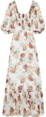 Nicholas Shirred Floral-print Silk-chiffon Maxi Dress
