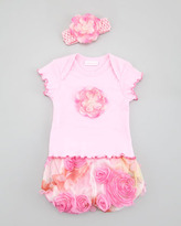 cachcach Pastel Petals Tee and Diaper Cover Set