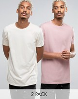Asos 2 Pack Longline T-Shirt In Beige/Pink SAVE