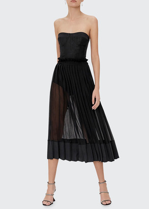 Alexis Insasia Strapless Pleated Cocktail Dress