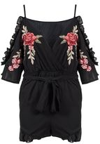Quiz Black And Red Embroidered Cold Shoulder Playsuit