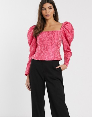 And other stories & puff sleeve cropped top in pink floral jacquard