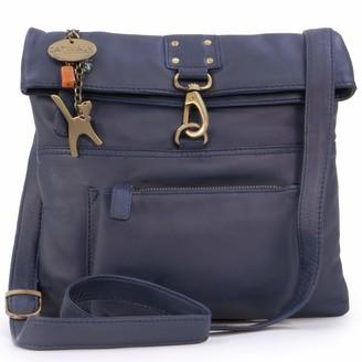 Catwalk Collection Handbags - Ladies Leather Cross Body Bag - Adjustable Shoulder Strap - DISPATCH - Dark Blue/Navy