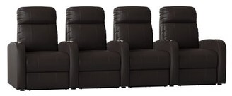 Latitude Run Home Theater Row Seating (Row of 4 Body Fabric: Smartsuede Sand, Reclining Type: Manual