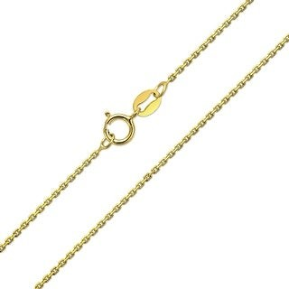 Bling Jewelry Cable Link Chain 20 Gauge Gold Plated Sterling Silver