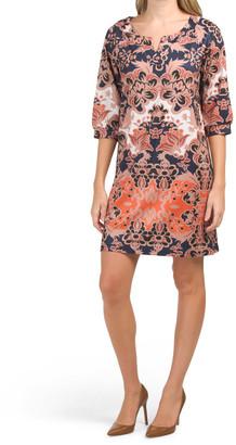 Printed Dolman Sleeve Jersey Shift Dress