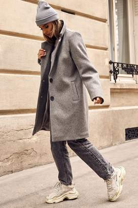 I SAW IT FIRST Grey Button Front Formal Coat