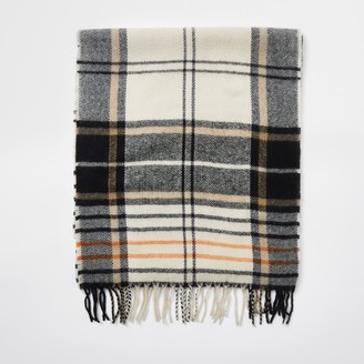 River Island Mens Ecru check scarf