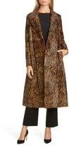 Lafayette 148 New York Zelida Leopard Print Calf Hair Trench Coat