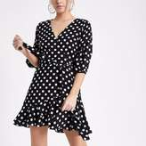 River Island Womens Petite black polka dot wrap frill mini dress
