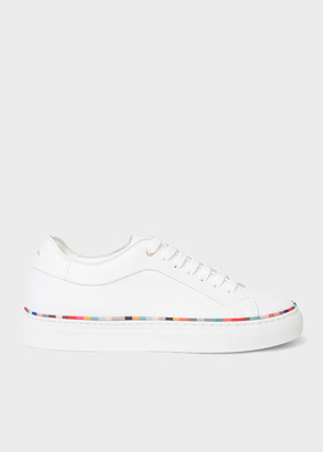 Paul Smith Women's White Leather 'Basso' Trainers With 'Swirl' Rand