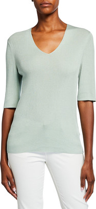 Lafayette 148 New York Voile Fine Spun V-Neck Ribbed Shirt