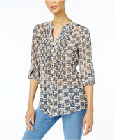 Style&Co. Style & Co Printed Back-Tie Shirt, Created for Macy's