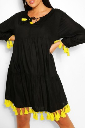 boohoo Plus Tassel Beach Smock Dress