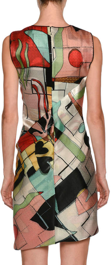 Giorgio Armani Abstract-Print High-Neck Sleeveless Ruched Dress
