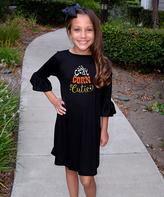 Beary Basics Black 'Candy Corn Cutie' Bell-Sleeve Dress - Toddler & Girls