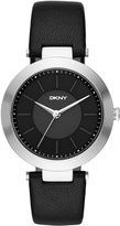 DKNY Stanhope Black Leather 3 Hand Watch