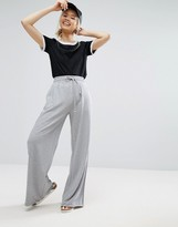 Daisy Street Wide Leg Joggers With Velvet Draw Cord & Seams