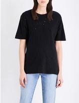 Ksubi Shredded-back cotton-jersey t-shirt