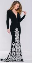 Jovani Long Sleeve Embellished Lace Evening Dress
