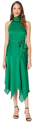 Vince Camuto Mock Halter Neck Hammer Satin Belted Dress (Everglade) Women's Dress