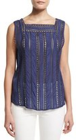 Veronica Beard Surfside Sleeveless Silk Top, Blue