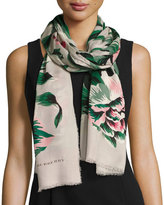 Burberry Floral Wool & Silk Scarf, Emerald/White
