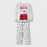 Peanuts Girls' Worldwide Snoopy Set With Gift Bag Pajama Set - Gray
