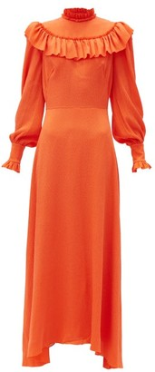 The Vampire's Wife The Firefly Ruffled Silk-blend Dress - Orange